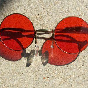Vintage Orange Round Sunglasses Non Pres